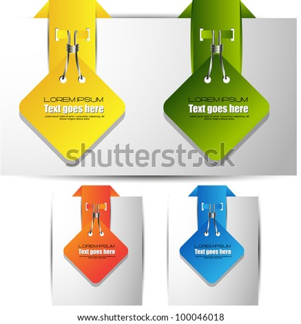 colorful paper tags/banners - stock vector