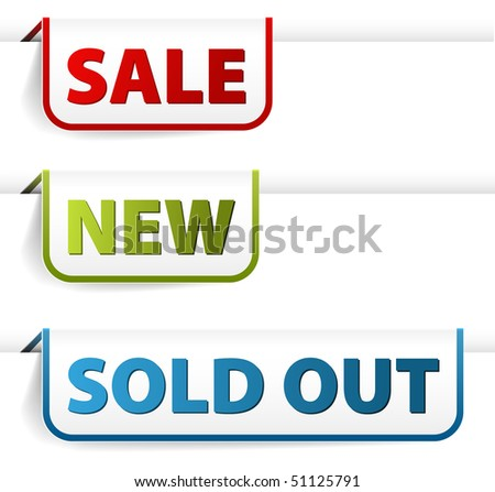 Colorful paper tags for eshop items - new, sale, discount, sold out - stock vector