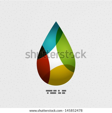 Colorful paper vector water drop - stock vector