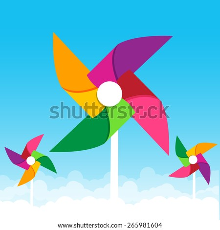 Colorful paper wind turbine on blue sky background vector illustration - stock vector