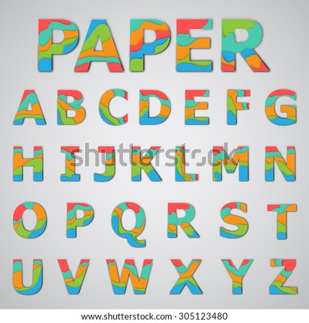 Colorful papercut layered font, vector