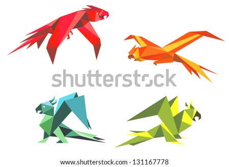 Colorful parrot birds in origami style isolated on white background. Jpeg (bitmap) version also available in gallery - stock vector