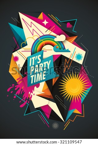Colorful party background with abstraction. Vector illustration.