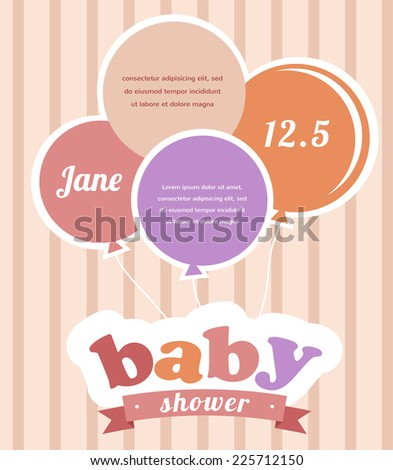 Colorful party balloons celebrating a newborn baby  girl - stock vector