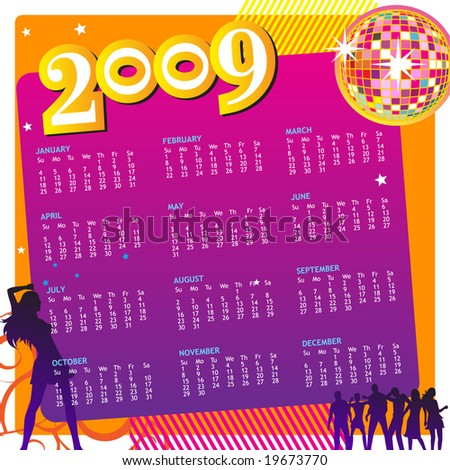 Colorful Party Calendar 2009. (Editable) - stock vector
