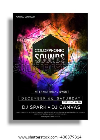 Colorful Party Flyer, Musical Party Template, Club Party Banner design with date and time details. - stock vector