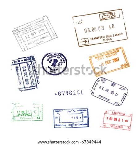 Colorful passport stamps background for your design Passport Stamps