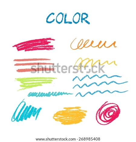 Colorful pastel vector stains. Texture for grungy effect. Grunge marker stainsHand drawn card with pastel texture. Colorful.