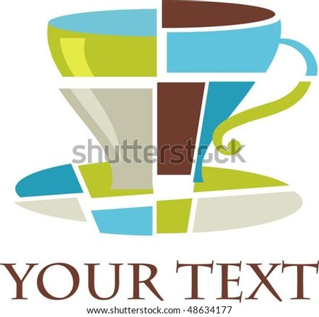 Colorful patched  coffee cup - stock vector