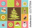 Colorful patchwork background on Christmas theme - stock vector