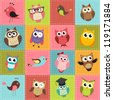 colorful patchwork background with owls - stock vector