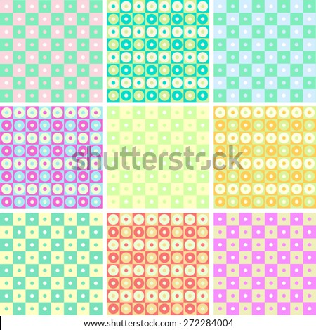 Colorful pattern collection. A vector set of 9 bright and beautiful seamless backgrounds.  - stock vector
