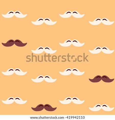 Colorful pattern, mustache art background design for fabric and decor. Men's mustache - pattern