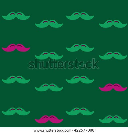 Colorful pattern, mustache art background design for fabric and decor. Men's mustache - pattern - stock vector