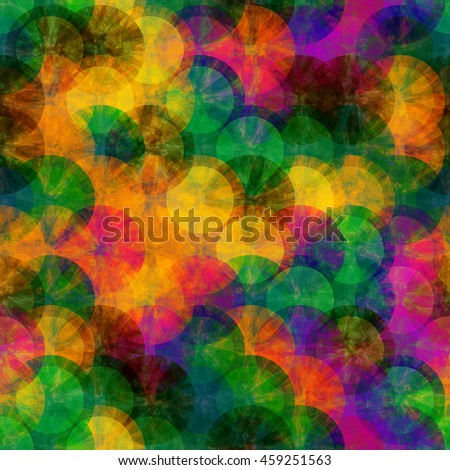 Colorful pattern of grunge discs. Abstract seamless vector pattern.
