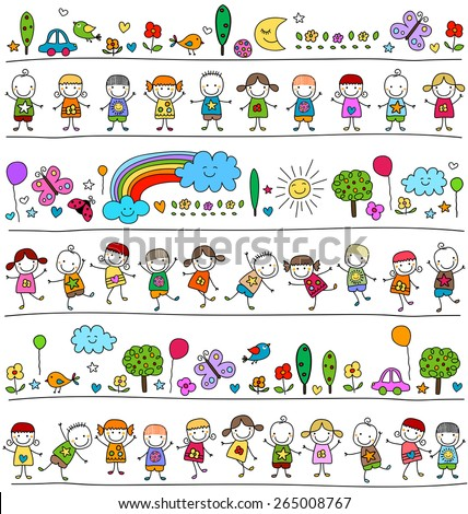 colorful pattern with children and cute nature elements, child like drawing style