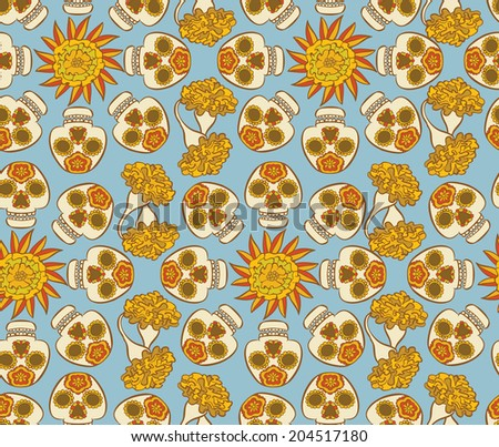 Colorful  pattern with mexican skulls - calaveras and  marigold flowers  - stock vector