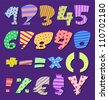 Colorful patterns comic numbers - stock vector