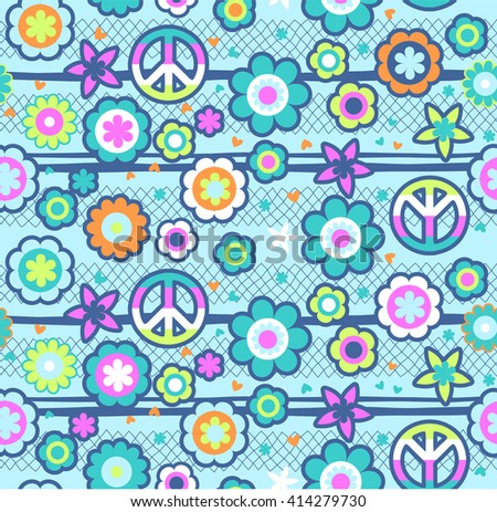 colorful peace and flower print ~ seamless background - stock vector