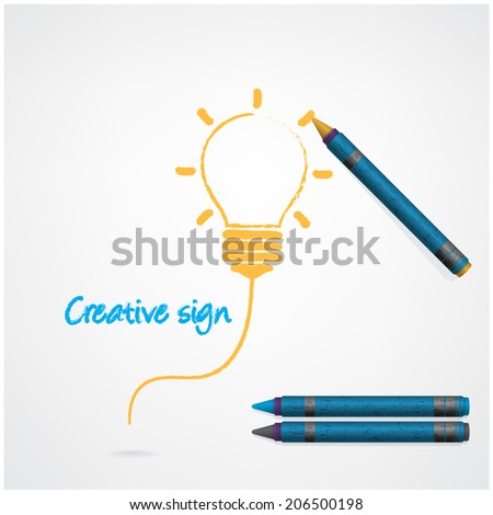 Colorful pencil crayons with creative light bulb sign on paper, vector illustration.