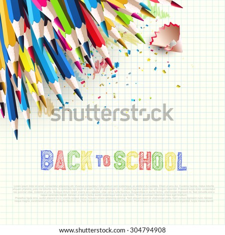 Colorful pencils on white paper - Back to School background with place for text
