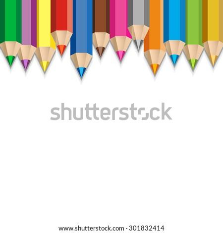 Colorful pencils vector illustration. School background. Artistic frame. - stock vector