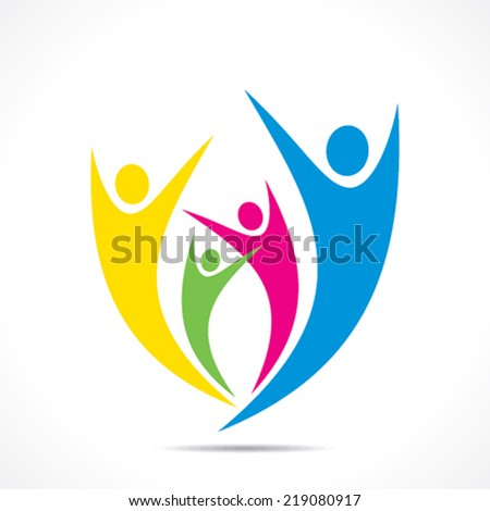 colorful people celebration icon design vector