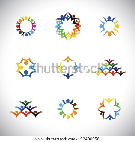 colorful people, children, employees icons collection set - vector graphic. This illustration also represents love, unity, solidarity, alliance, union, teamwork, organization, together, group - stock vector