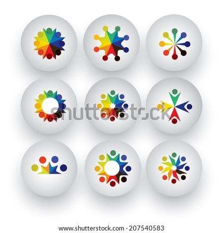 colorful people, children, employees icons collection set - vector graphic. This illustration also represents love, unity, solidarity, alliance, union, teamwork, organization, together, group, team