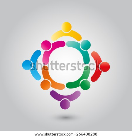 colorful people & children icons in multiple circles- concept vector. This illustration can also represent concept of children playing together or friendship . - stock vector
