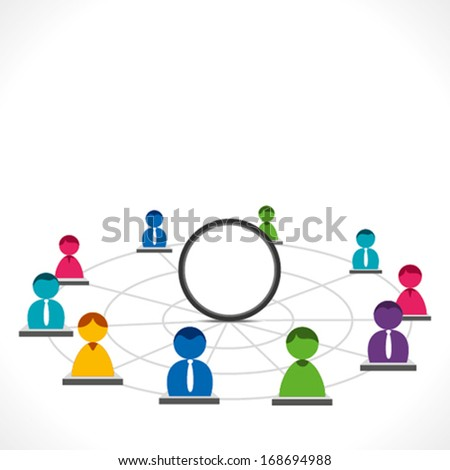 colorful people global network with blank circle to write your text background vector - stock vector