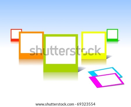Colorful photo frames in vector art - stock vector