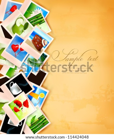 Colorful photos on old paper. Vector illustration. - stock vector