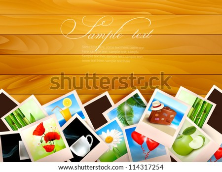 Colorful photos on wooden background. Vector illustration. - stock vector