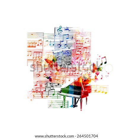 Colorful piano background - stock vector