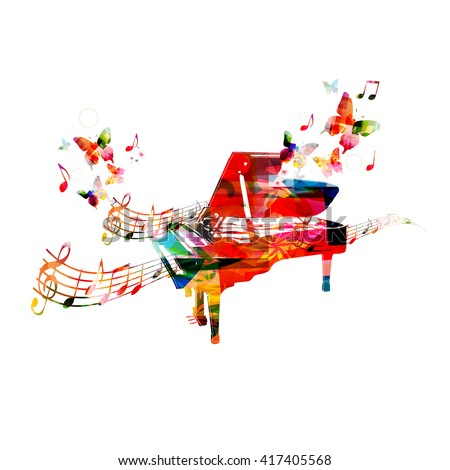 Colorful piano with butterflies - stock vector