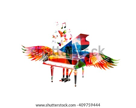 Colorful piano with wings - stock vector