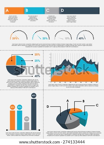 Colorful pie charts, bars and graphs infographics for professional data presentation on grey background. - stock vector