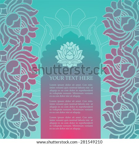 Colorful pink and blue traditional oriental lotus card design with temple gate and space for text - stock vector