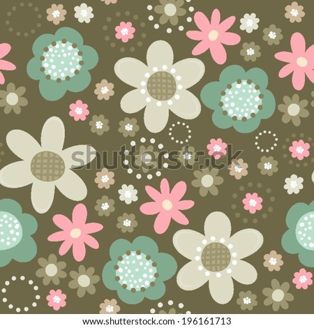 colorful pink turquoise beige brown little flowers romantic botanical seamless pattern on dark background