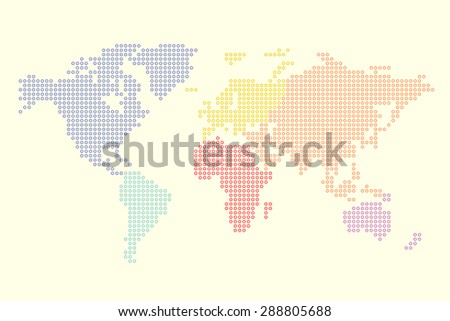 Colorful Pixel Continents Of The World - stock vector