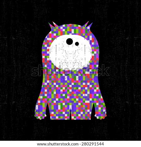 Colorful pixel monster on black grunge background. Vector illustration - stock vector