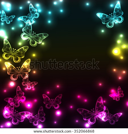 Colorful plasma butterfly background with light effects - stock vector