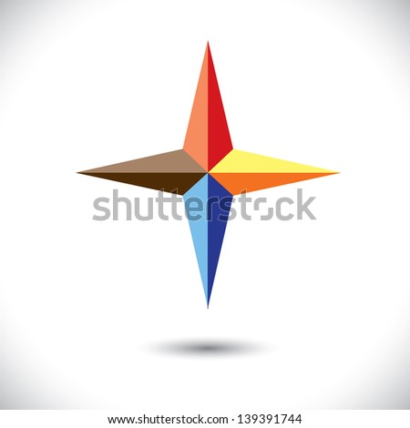 Colorful plus icon ( positive sign ) of triangles- vector graphic. The illustration represents a symbol positivity with vivid and vibrant red, blue, orange colors - stock vector
