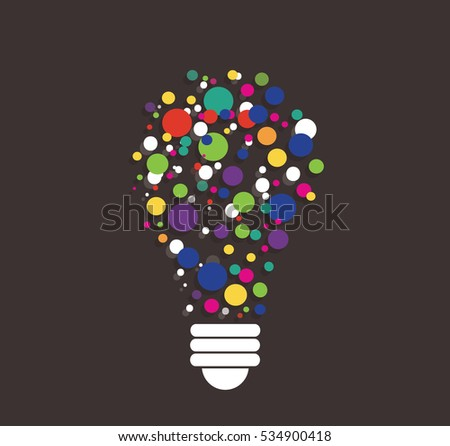 colorful points in light bulb shape vector