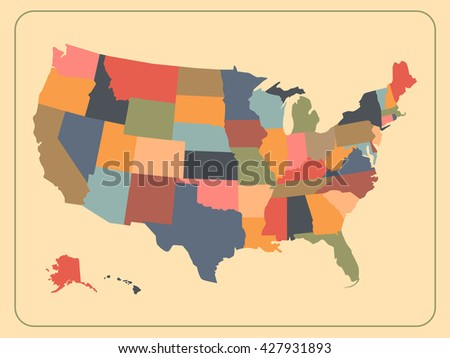 Colorful Political Usa Map Vintage Map Of The United States