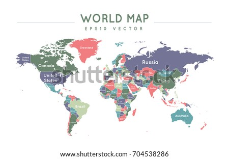 Colorful political world map name borders stock vector 704538286 colorful political world map with the name and borders of the countries gumiabroncs Images