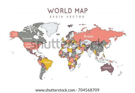 Colorful political world map name borders stock vector 704568709 colorful political world map with the name and borders of the countries gumiabroncs Images