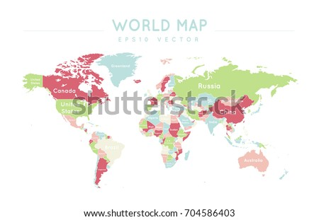 Colorful political world map name borders stock vector 704586403 colorful political world map with the name and borders of the countries gumiabroncs Images