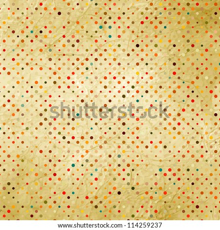 Colorful polka dot pattern on cardboard. And also includes EPS 8 vector